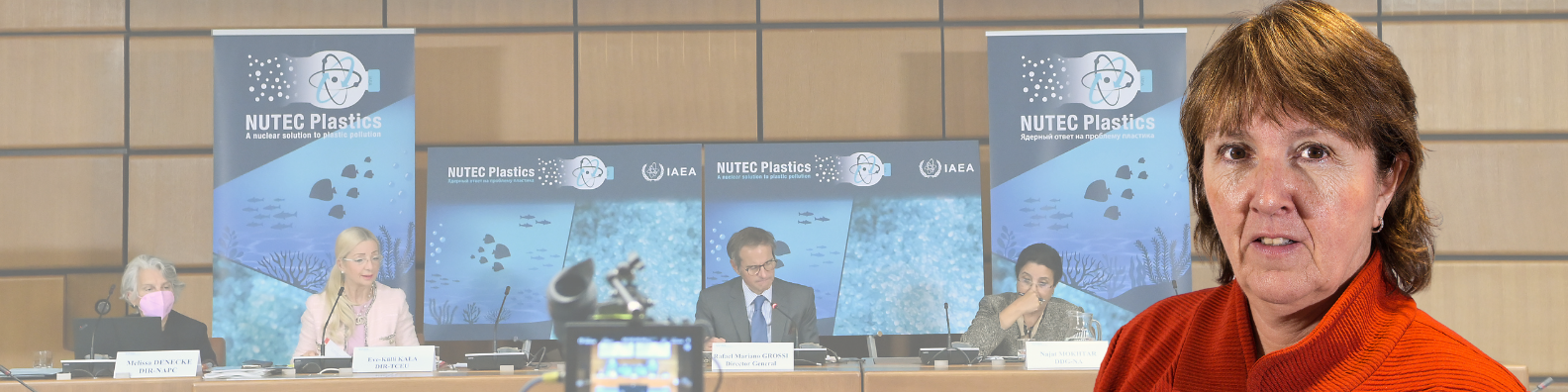 Eli Vassenden speaking on plastic waste at IAEA